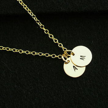 Initial Necklace, 18k Gold Initial Necklace XL Initial Disc Necklaces Personalized Necklace Personalized Jewelry Monogram Necklace