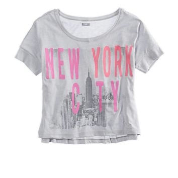 AERIE FAVORITE CITIES GRAPHIC CROP T-SHIRT