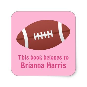 Football bookplate book label / tag for girls square sticker