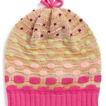 Girl's Missoni Knit Wool Beanie - Pink