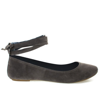 #Chantel41S by Bamboo, Taupe Ballet Ballerina Round Toe Flats w Leg Wrap Laces. Women Shoes