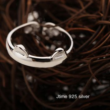 925 Silver Opening Scrubs Catlike Orecchiette Ring Couple cute Totoro Rings