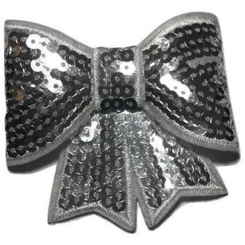 "White JUMBO 3"" sequin bow"