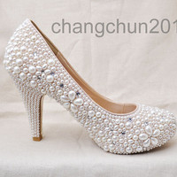 Party queen pearls high heels cream pearl daisy wedding Shoes heel-height about 4 inches free shipping