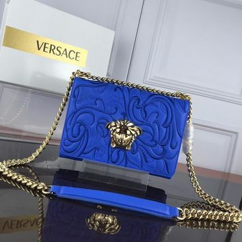 DCCK V0013 Versace Embroidered Expanding File Handbag 25-18-6.5cm Blue