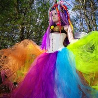 Neon Rainbow Faerie Formal Alternative Wedding Skirt Fae All Sizes MTCoffinz