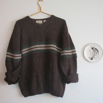 80s Speckled Woodland Stripe Sweater