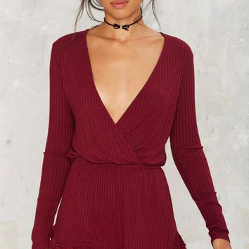 Calling Ribs Plunging Romper - Burgundy