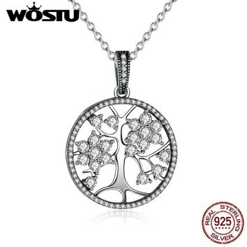 Aliexpress Hot Sale 100% Real 925 Sterling Silver Family Tree Pendant Necklaces For Women Fine Jewelry Gift CRN013