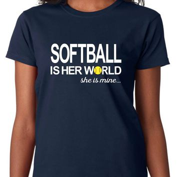 Softball Is Her World, She Is Mine Women's, Size: Adult XL, Blue