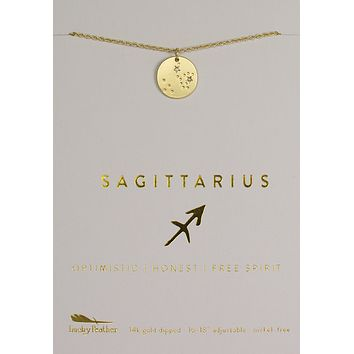 Lucky Feather Sagittarius Zodiac Sign Constellation Necklace