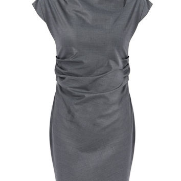 Work Style Round Neck Short Sleeve Solid Color Women's Dress LAVELIQ