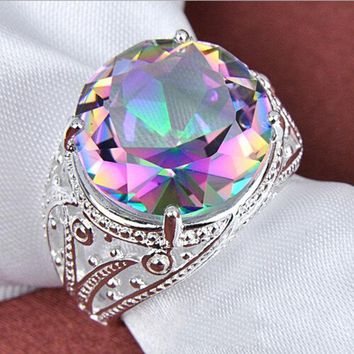 DCCKI2G White crystal seven colored stone ring