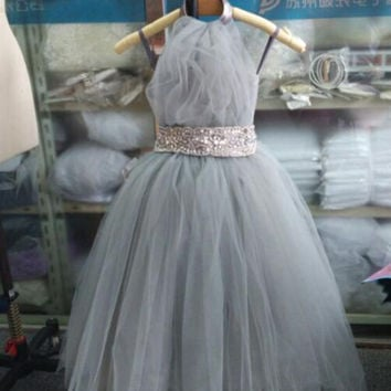 Grey Tulle Flower Girl Dresses for Weddings Halter Sleeveless Pageant Gowns for Little Girls vestido de daminha MF10