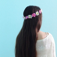Flower Crown- pink and white daisy