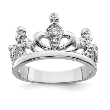 925 Sterling Silver Cubic Zirconia Crown Ring