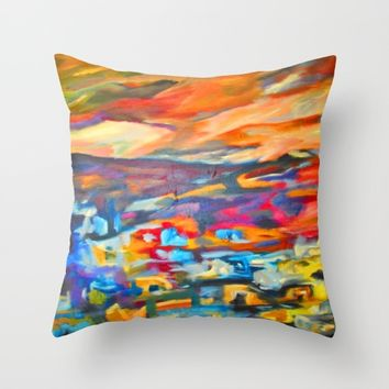 My Village | Colorful Small Mountainy Village Throw Pillow by Azima