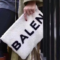 Balenciaga' Casual Simple All Match Fashion Letter Logo Plush Women Zip Clutch Envelope Bag