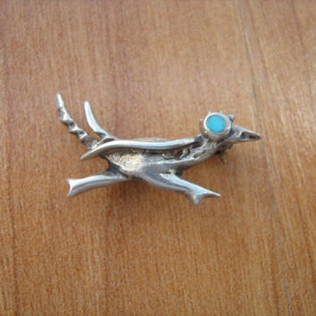 Sterling Silver Roadrunner bird brooch vintage 1970s