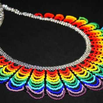 Beautiful Rainbow Bib Necklace, Huichol Necklace, Native American Beaded Necklace, Seed Bead Necklace, Festival Jewelry, Multi Color Jewelry