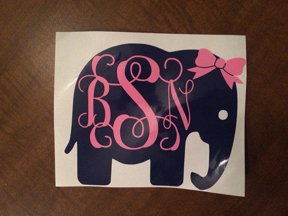 Best Elephant Monogram Decal Products On Wanelo - Cute monogram car decals
