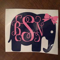 Custom/Personalized Vinyl Monogram Elephant With Bow Car Decal
