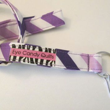 Purple Chevron ID Lanyard, Chevron Lanyard, Cute Lanyard, Fabric Lanyard, Key Lanyard, Keychain, ID Badge Holder, Key Ring, Long