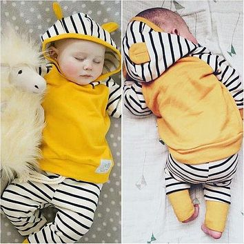 autumn new cotton(blends) sets baby kids long sleeve Top hoodies + Pants sets Yellow zebra stripes 2PCS suits baby clothes