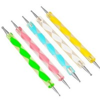 8 Pcs Nail Art Design Detailing Drawing Paint Painting Brushes Dotting Pen Set Kit White