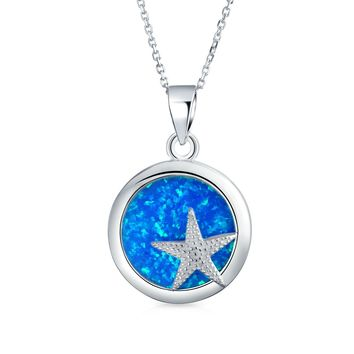 Circle Starfish Pendant Blue Created Opal Necklace Sterling Silver