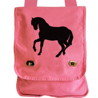 Horse Messenger - Pink Canvas Messenger Bag with Stallion Horse Design