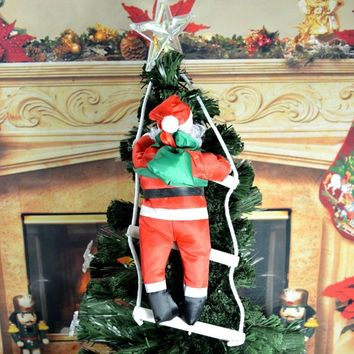 Large 60/80cm Christmas noel natal Santa Claus doll with stair to giving gift Sint Nicolaas Christmas Tree Decoration