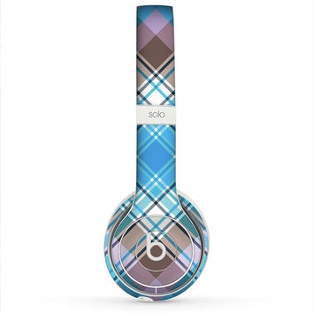 The Gray & Bright Blue Plaid Layered Pattern V5 Skin for the Beats by Dre Headphones (All Versions Available)