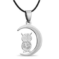 Stainless Steel Vintage Owl Pendant Necklace