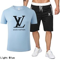 LV Louis Vuitton Summer Popular Men Casual Print T-Shirt Top Shorts Set Two-Piece Light Blue