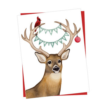 Holiday Woodland Deer Card