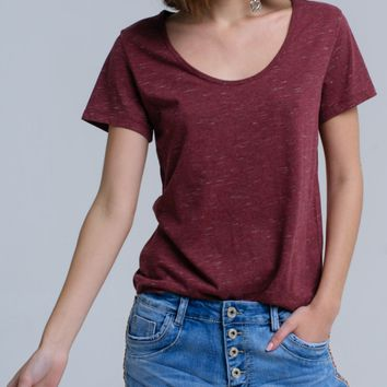 T-shirt with speckle print in rust