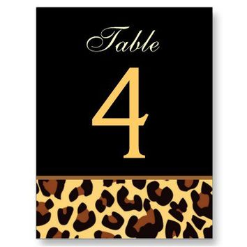 Gold and Black Leopard Wedding Table Number Card Postcards You Personalize