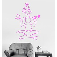 Vinyl Wall Decal Woman Gym Fitness Girl Training Diet Health Yoga Stickers Unique Gift (ig3100)