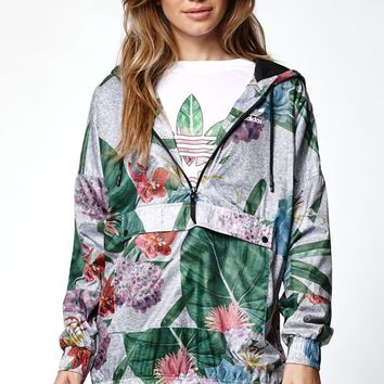 adidas Training Floral Print Half-Zip Jacket - Womens Jacket - Multi Color