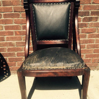 Antique Empire Chair Carved Bear Claw Feet Dark Wood Black Leather