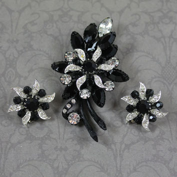 Vintage Clear Rhinestone and Japanned Black Floral Brooch and Earrings Set