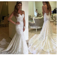 Sexy Berta 2017 Backless Wedding Dresses Autumn Mermaid Full Lace Bridal Dresses Garden Beach Wedding Gowns Sheer Chapel Train