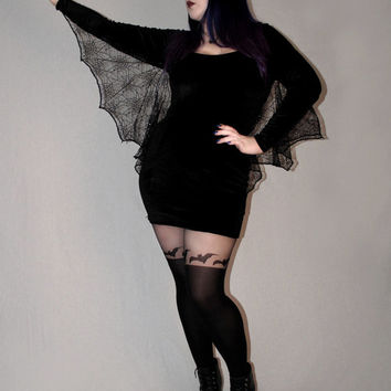 Manticore velvet bodycon dress with spiderweb lace bat wings