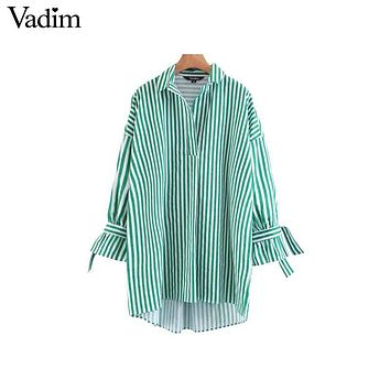 Vadim women sweet bow tie striped loose shirts oversized long sleeve turn down collar blouse ladies brand tops blusas LT2107