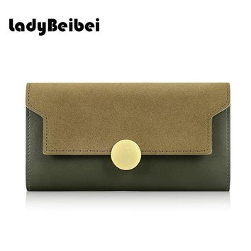 lady beibei European and american style vintage  Women Wallet  High capacity long Wallet Fashion solid Purse Card clutch wallets