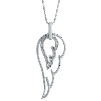 ".15 cttw Diamond Angel Wing Sterling Silver Pendant on an 18"" Box Chain"