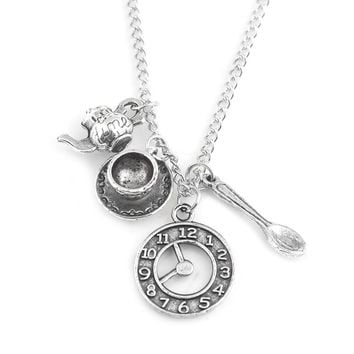 M2 New Arrival Alice in Wonderland Necklaces Pendants Antique Silver Magic Clock Spoon Teapot For Men and Women Gift Accessories