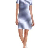 Navy Combo Short Sleeve Striped T-Shirt Dress by Charlotte Russe
