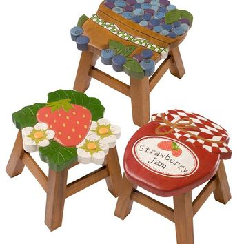 Hand-Carved Wooden Footstool In Berry Designs | Decorative Accents